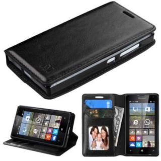 Insten Folio Leather Fabric Case w/stand/card holder/Photo Display For Microsoft lumia 435   Black