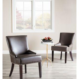 Safavieh En Vogue Dining Loire Grey Leather Nailhead Side Chairs (Set