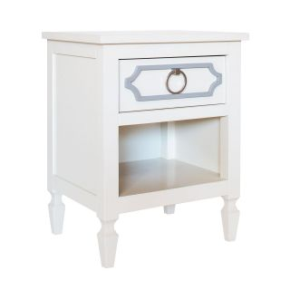 Newport Cottages NPC4805 WH FG KNB09 Beverly Nightstand in White and French Grey Trim