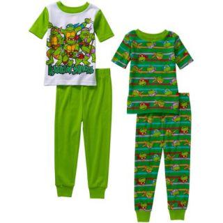 Teenage Mutant Ninja Turtles Toddler Boys' Cotton Tight Fit Short Sleeve Sleep Set, 4 Pieces