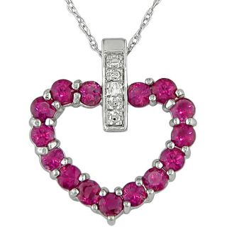 10k Gold Pink Sapphire and Diamond Heart Necklace