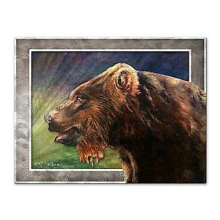 All My Walls Red Griz by Nancy Jean Busse Painting Print Plaque