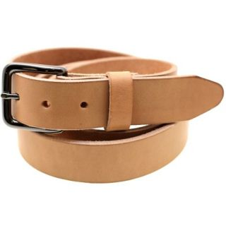 Made In USA 1 3/8 Natural Tan Harness Leather Belt Burnished Natural Edge