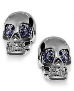 Skulls on Fire Mens Black Sapphire Skull Earrings in Stainless Steel