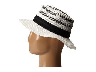 Vince Camuto Striped Fedora Hat White, White