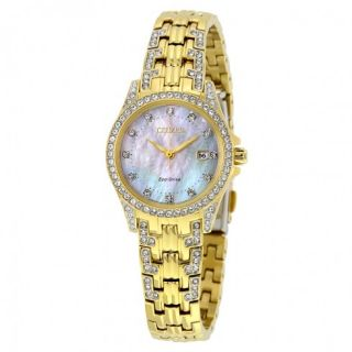 Citizen Silhouette Crystal Mother of Pearl Dial Gold Tone Ladies Watch