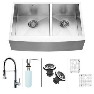Vigo All in One Farmhouse Apron Front Stainless Steel 33 in. 0 Hole Double Bowl Kitchen Sink Set in Chrome VG15130
