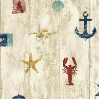 York Wallcoverings 56 sq. ft. Nautical Living Weathered Seashore Wallpaper NY4882