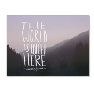 Trademark Art The World is Quiet Here by Leah Flores Textual Art on