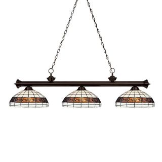 Z Lite Riviera 14 in W 3 Light Bronze Kitchen Island Light with Tiffany Style Shade