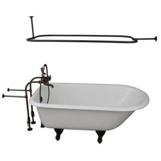Barclay Products 5.6 ft. Cast Iron Ball and Claw Feet Roll Top Tub in White with Oil Rubbed Bronze Accessories TKCTRN67 ORB4