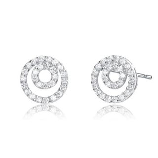 Collette Z Sterling Silver Cubic Zirconia Nested Circle Stud Earrings