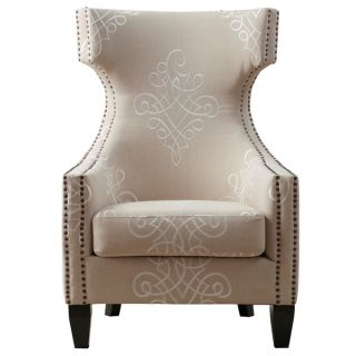 Gramercy Embroidered Linen Wing Chair   15826139
