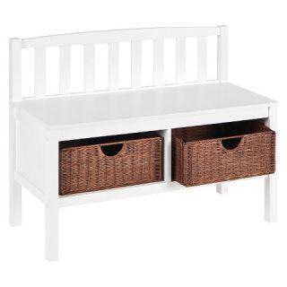 Southern Enterprises Bench with Brown Rattan Baskets   White
