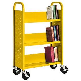 Sandusky 46H x 28W x 14D Steel Single Sided Sloped Book Truck, 3 Shelf, Yellow