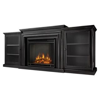 Real Flame Frederick Electric TV Media Stand Fireplace   Black Wash