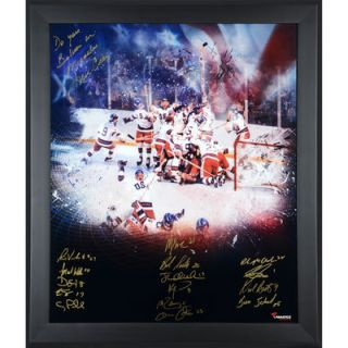 1980 US Hockey Team  Authentic Framed Autographed 20 x 24 In Focus Photograph with Miracle Inscription Limited Edition #2 23 of #24
