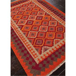 Jaipur RUG10019 Anatolia Flat Weave Tribal Pattern Wool Orange Red Area Rug