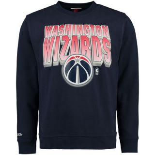 Washington Wizards Mitchell & Ness Block and Blur Crew Fleece Sweatshirt   Navy