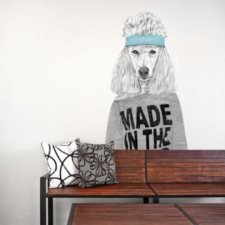 80s Girl Standard Poodle Dog Wall Decal by My Wonderful Walls
