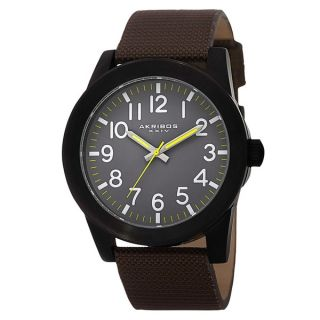 Akribos XXIV Mens Swiss Quartz Easy To Read Markers Canvas Strap