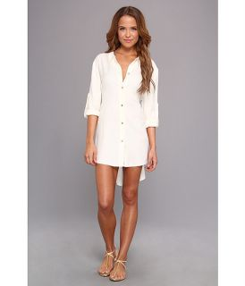 Vince Camuto Pleating Waves Shirt Tail Dress Cover Up Pearl