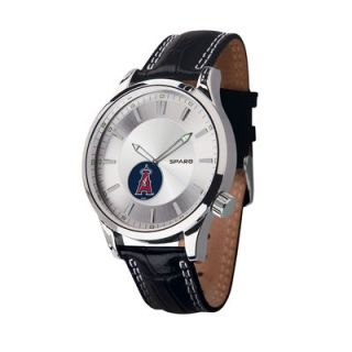 Los Angeles Angels of Anaheim Icon Leather Watch   Black