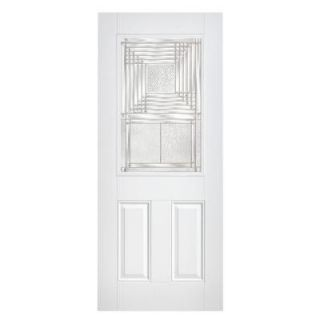 Masonite Rochelle Half Lite Primed Smooth Fiberglass Prehung Front Door with No Brickmold DISCONTINUED 14735