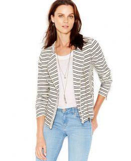 Lucky Brand Striped Zip Front Sweater Jacket   Sweaters   Women