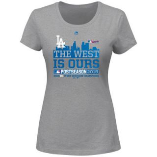 Los Angeles Dodgers Majestic Womens 2015 NL West Division Champions The West is Ours Plus Size T Shirt   Athletic Gray