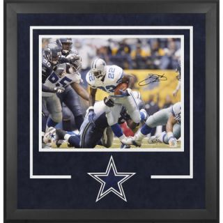 Emmitt Smith Dallas Cowboys  Authentic Deluxe Framed Autographed 16 x 20 Record Run Photograph