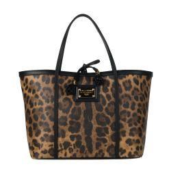 Dolce & Gabbana Tan/ Black Animal Print Tote   13828663