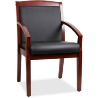 "Lorell Sloping Arms Wood Guest Chair   Bonded Leather Black Seat   Bonded Leather Black Back   Wood Cherry Frame   23.3"" X 24.4"" X 35.9"" Overall Dimension (llr 20014)"
