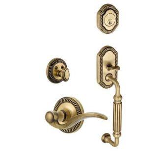 Grandeur Newport Single Cylinder Vintage Brass F Grip Handleset with Left Handed Bellagio Lever NEWFGRBEL 70 LH VB