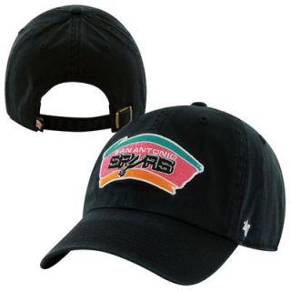 47 Brand San Antonio Spurs Hardwood Classics Clean Up Vintage Adjustable Hat   Black