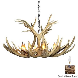 Canadian Antler Design Mule Deer 37 in 9 Light Natural Brown Rustic Abstract Chandelier