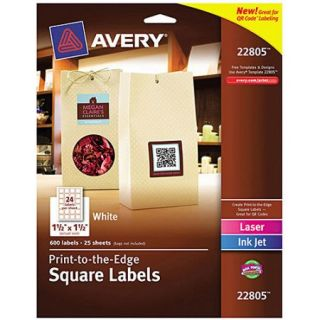 "Avery 22805 Easy Peel Print to the Edge Matte Square Labels with TrueBlock, White, 1 1/2"" x 1 1/2"", 600 Labels/Pack"