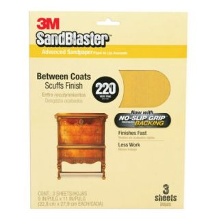 3M SandBlaster Sandpaper with No Slip Grip Backing, 11220 G, 3 2/3 in x 9 in, 220 grit, 5 sheets/pk