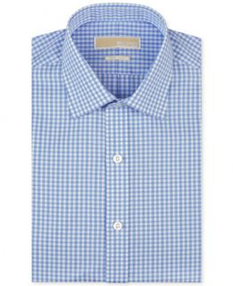 MICHAEL Michael Kors Mens Classic Fit Non Iron Blue Check Dress Shirt