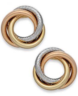 Tri Tone Textured Love Knot Stud Earrings in 14k Gold   Earrings
