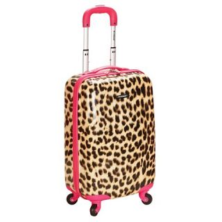 Rockland Sonic 20 Carry On Luggage Set   Pink Leopard