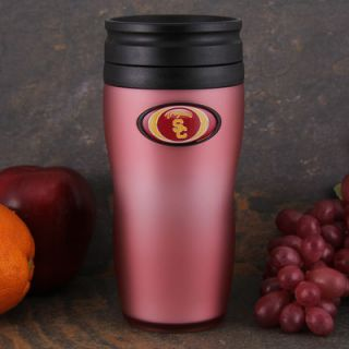 USC Trojans 16oz. Soft Touch Travel Tumbler with Lid   Pink