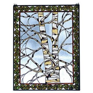 Meyda Tiffany Rustic Lodge Birch Tree in Winter Stained Glass Window