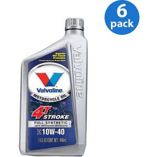 Valvoline Motorcycle Full Synthetic 10W 40 Motor Oil, 1 Quart, (6 pack)