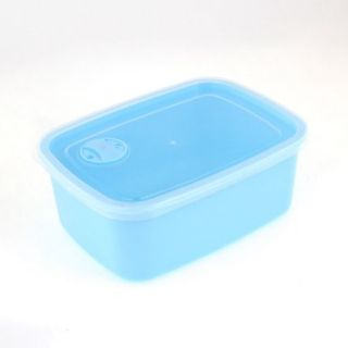 Single Compartment Blue Clear Food Snack Crisper Case Holder w Spoon