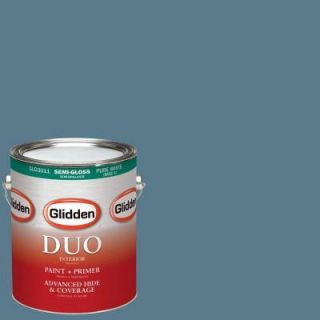 Glidden DUO 1 gal. #HDGB60D Pacific Rim Blue Semi Gloss Latex Interior Paint with Primer HDGB60D 01S