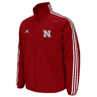 adidas Nebraska Cornhuskers Scarlet Primary Logo Lightweight Full Zip Hoodie Jacket