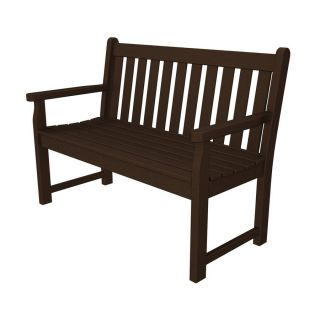 POLYWOOD Traditional Garden 24.25 in W x 47.5 in L Mahogany Plastic Patio Bench