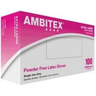 Ambitex Latex Powder Free General Purpose Glove Non Sterile Powder Free Large, 100 Count