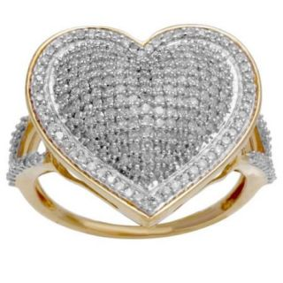 10k Yellow Gold 3/4ct TDW Pave Diamond Heart Ring (H I, SI1 SI2) Size 5.5